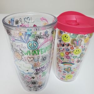 Two Tervis Peace and Rainbows Tumblers